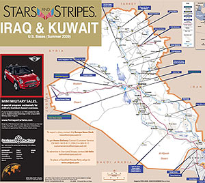 Stars And Stripes IRAQ Map - Map of us bases around iraq